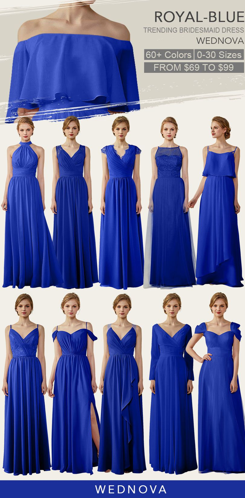 chiffon bridesmaid dress royal blue