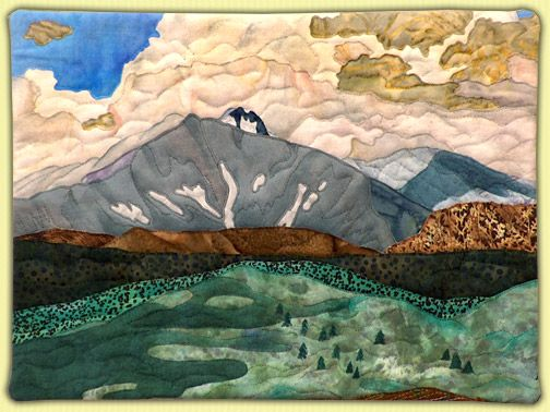 Mount Meeker on a Cloudy Day Landscapes   Annette Kennedy, Fiber ... : mountain quilts - Adamdwight.com