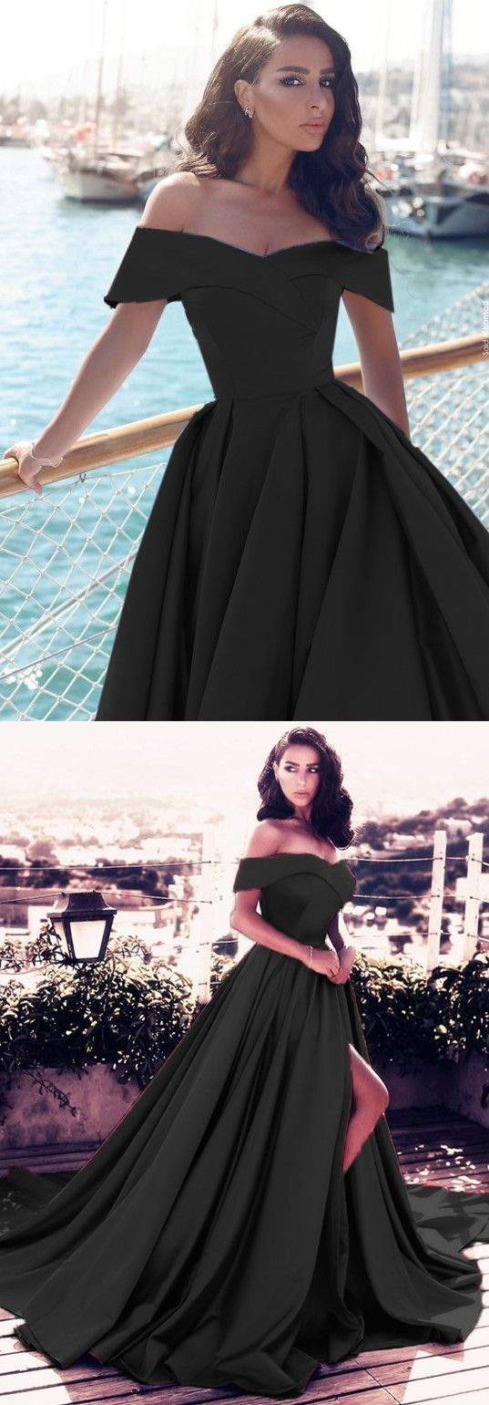 Sexy vneck off shoulder prom dresses long satin evening gowns in