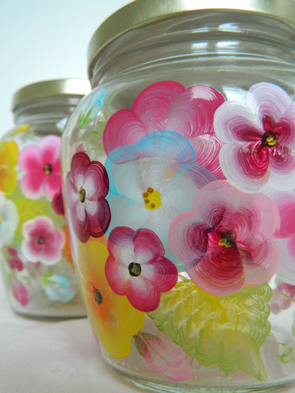 Colorful Jars Kitchen Canister Set Glass Cookie Jars Hand Etsy