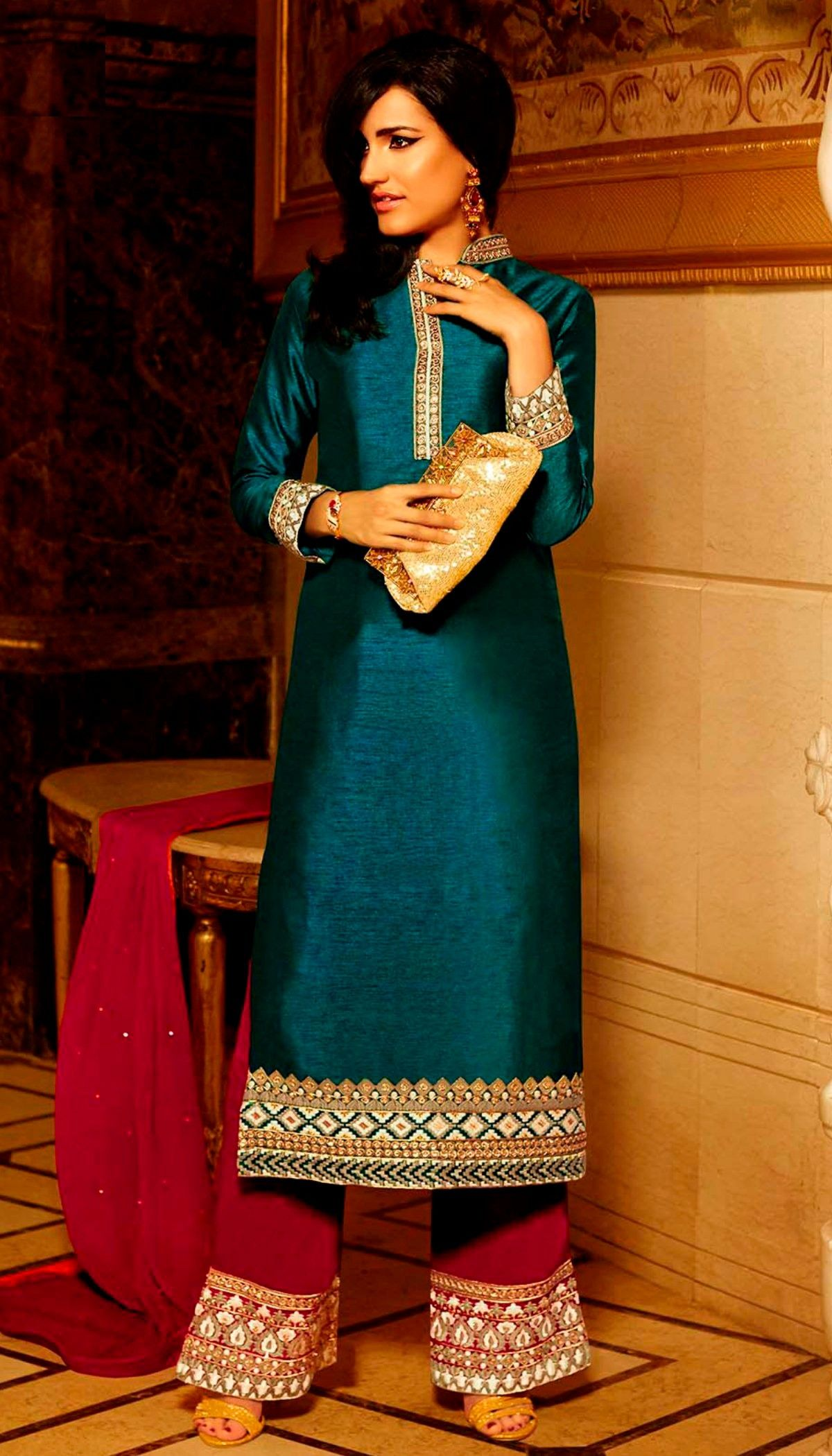 Teal poly silk lace strip work on neck beautiful long straight suit