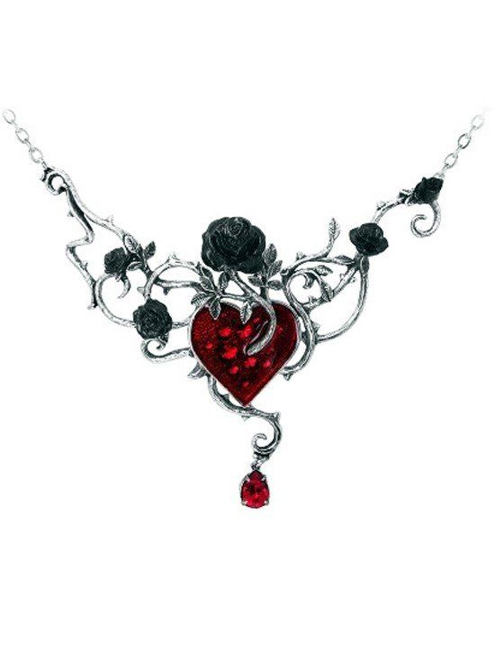 Bed Of Blood Roses Pendant by Alchemy of England is part of Gothic jewelry, Heart pendant jewelry, Gothic necklace, Heart jewelry, Heart shaped jewelry, Crystal pendant jewelry - The heart is the seedbed of tangled emotions and condemned romance; black roses flourish in the heart's blood Swarovski crystals sparkle from beneath the blood red enamel