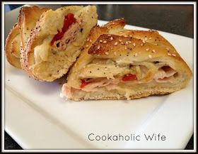 Cookaholic Wife: SRC: Turkey and Roasted Red Pepper Sandwich Braids