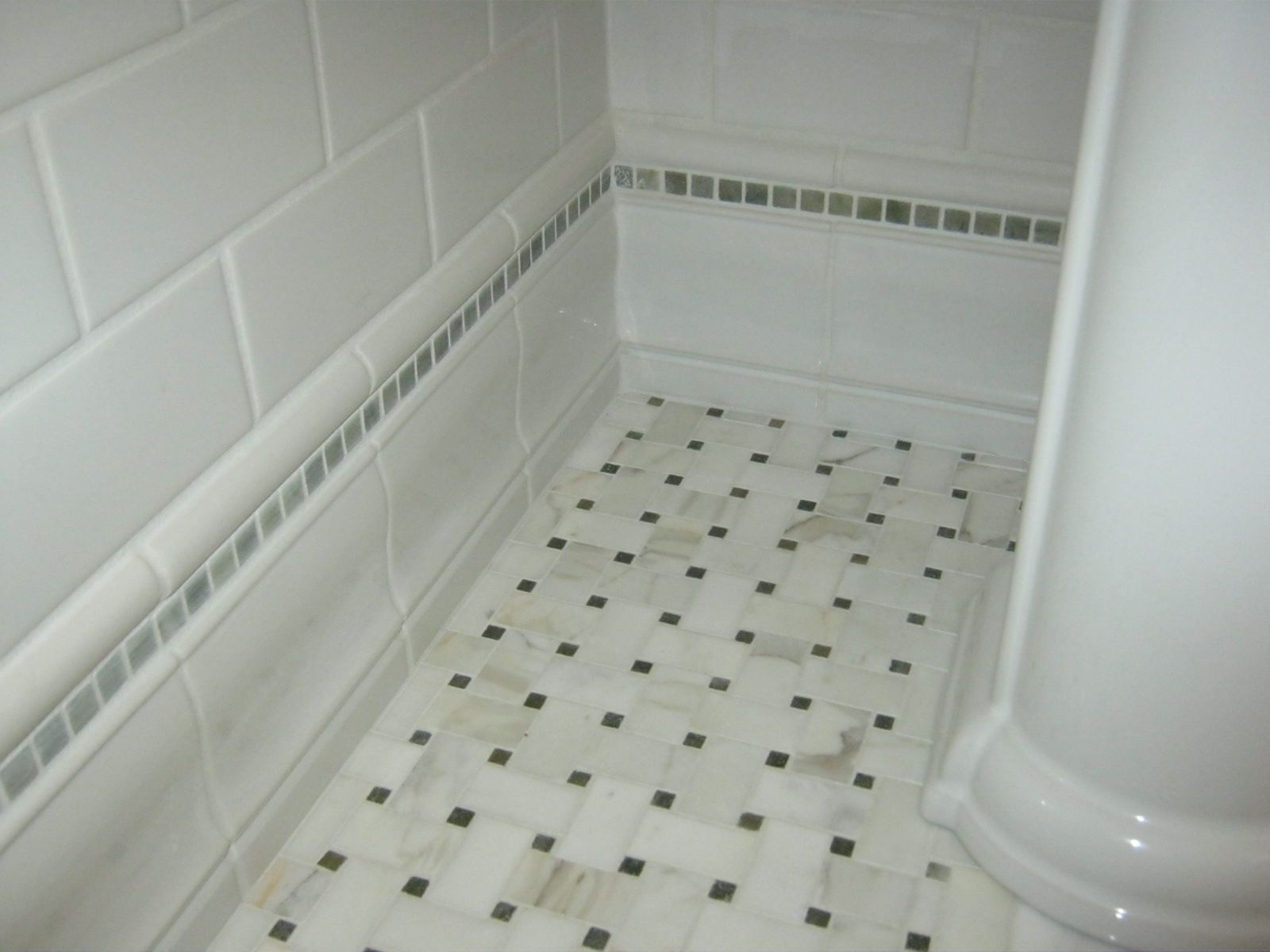 Wood baseboard in bathroom - Marble Mosaic Floor Ceramic Baseboard Stone Stripe And Ceramic Subway Tile Powder Room