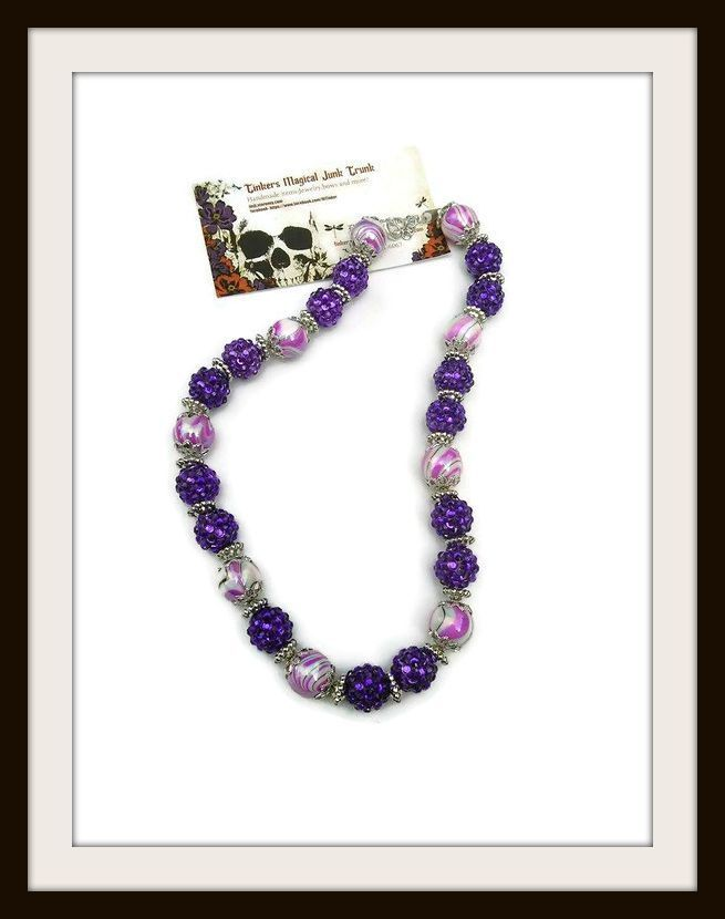 """""""Violet"""" handmade necklace pink splat glass beads with purple gem beads, silver disk bead spacers ,silver bead caps 18 in long"""