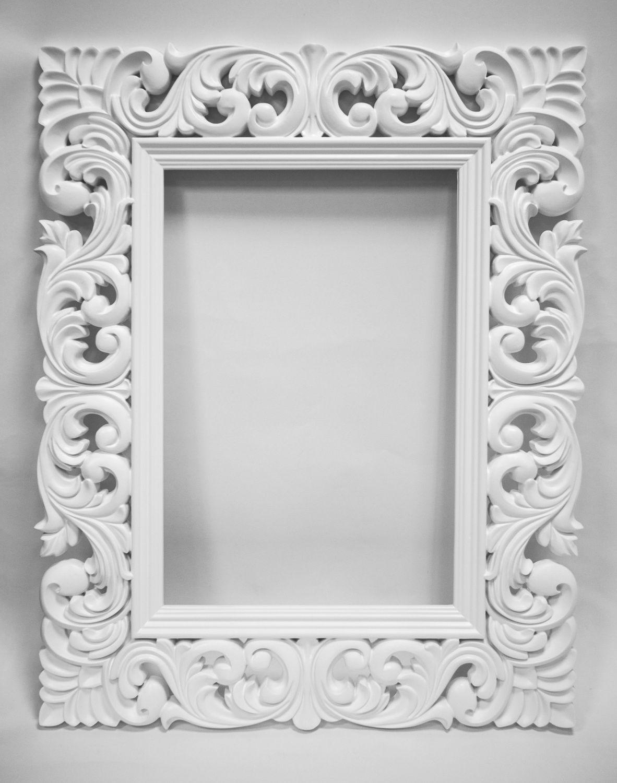 Marco para espejo talla en madera wood carving for Marcos plateados para espejos