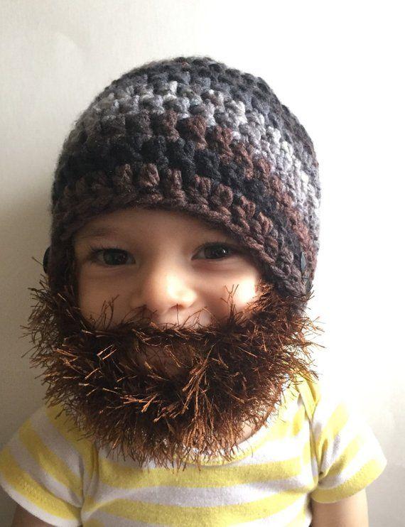 Handmade Crochet Beard hat, beard beanie. Mixed colors hat with brown beard, beard hat, men beard ha #crochetedbeards