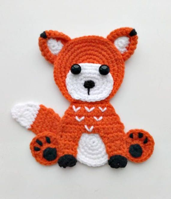 PATTERN Woodland Animal Applique Crochet Patterns PDF Rabbit Bear Raccoon Fox Crochet Appliques Forest Animals Motif Ornament for Baby ENG