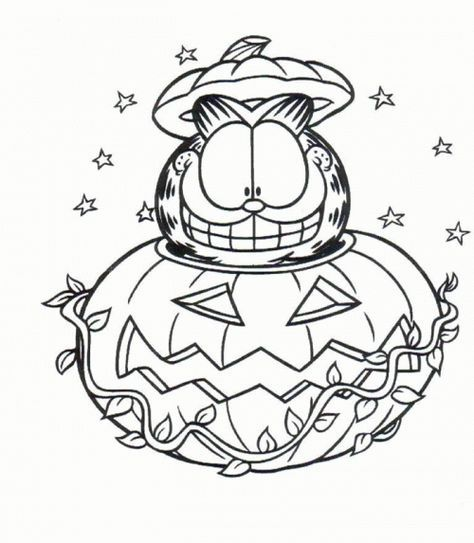 Garfield Halloween Coloring Pages | coloring pages | Pinterest ...