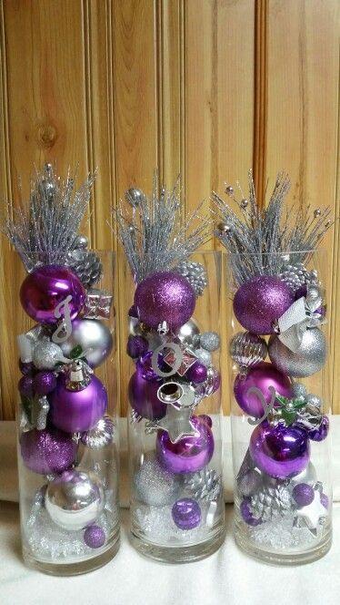 Purple Silver Christmas Joy Vases Purple Christmas Decorations Christmas Centerpieces Diy Homemade Christmas Decorations