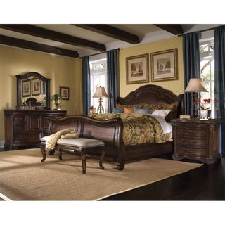 art furniture coronado 5piece kingsize leather sleigh bedroom set by art furniture