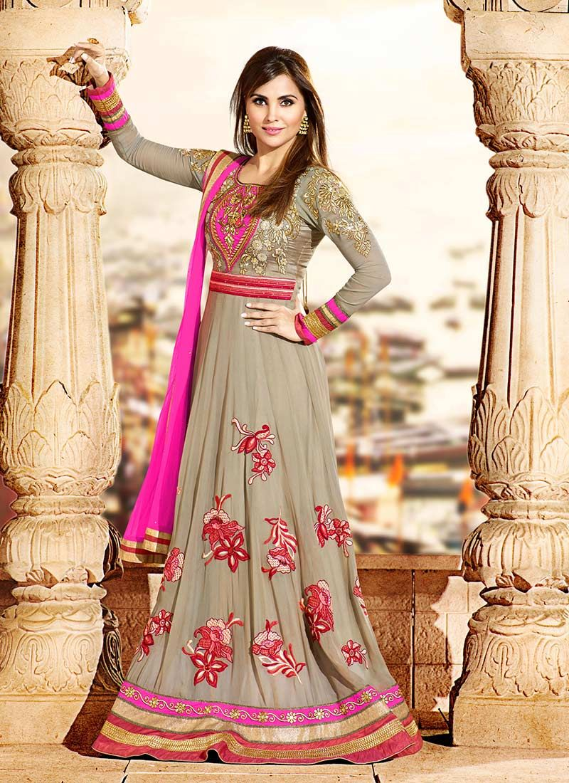 Laradutta beige floor length anarkali suit pakistani culture