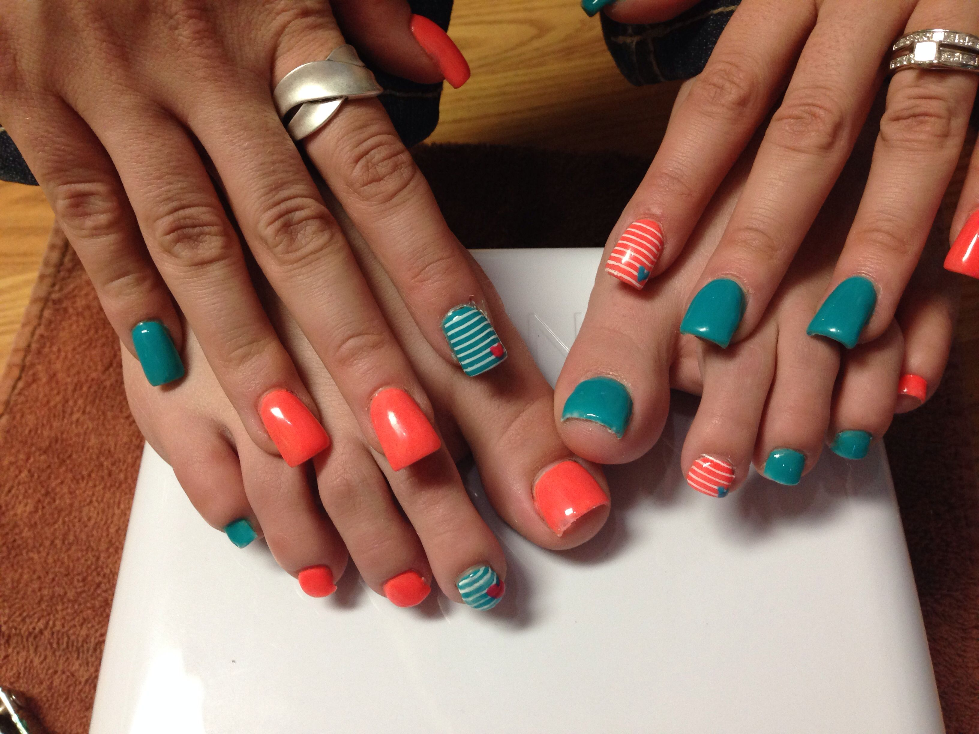 Acrylic nails and acrylic toes! Spring nails spring toes nails by ...