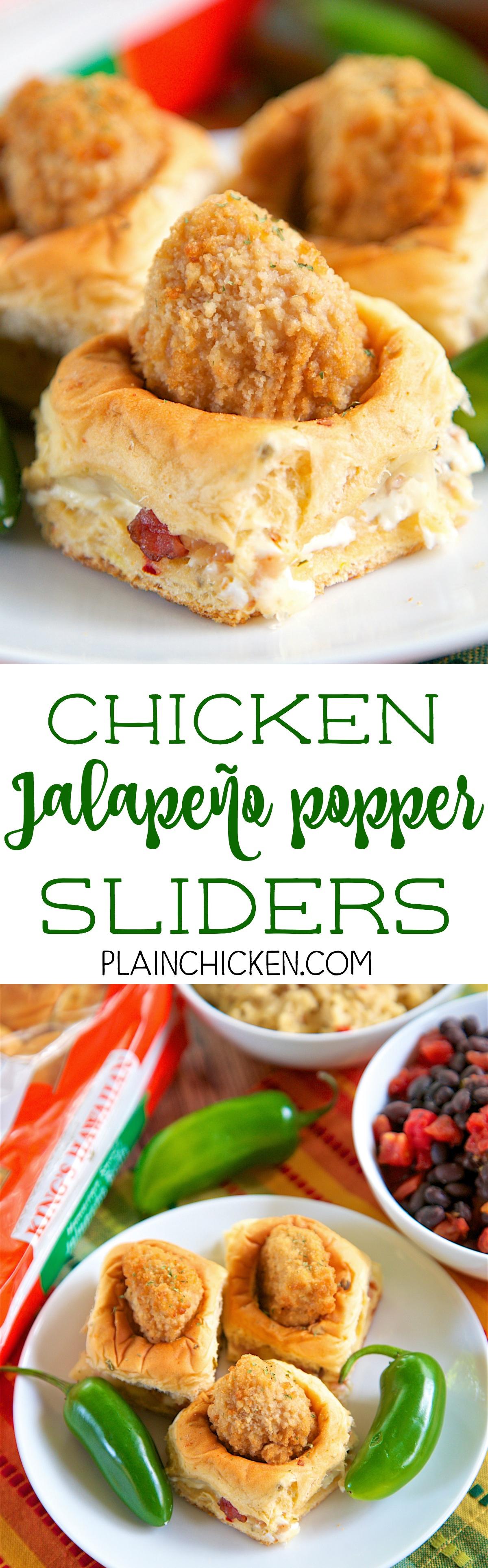 Chicken Jalapeno Popper Sliders SO fun! Only 5