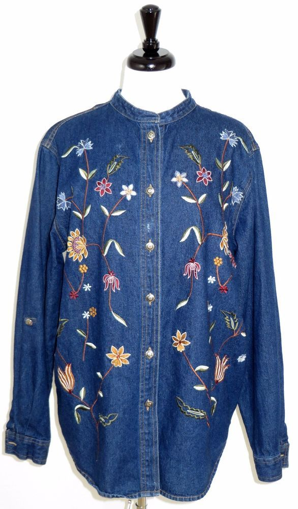 Coldwater Creek Embroidered Jean Jacket Shirt Floral Flower Buttons Womens XL #ColdwaterCreek #JeanJacket