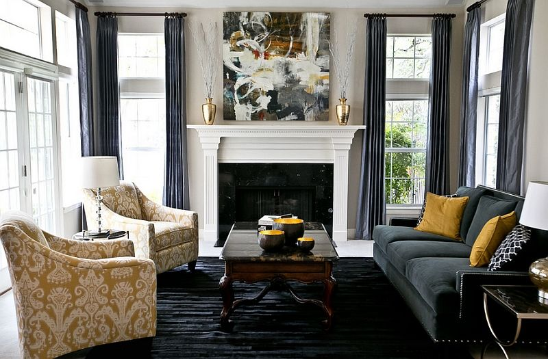 Best Stunning Living Space With Platinum Silk Draperies In 640 x 480