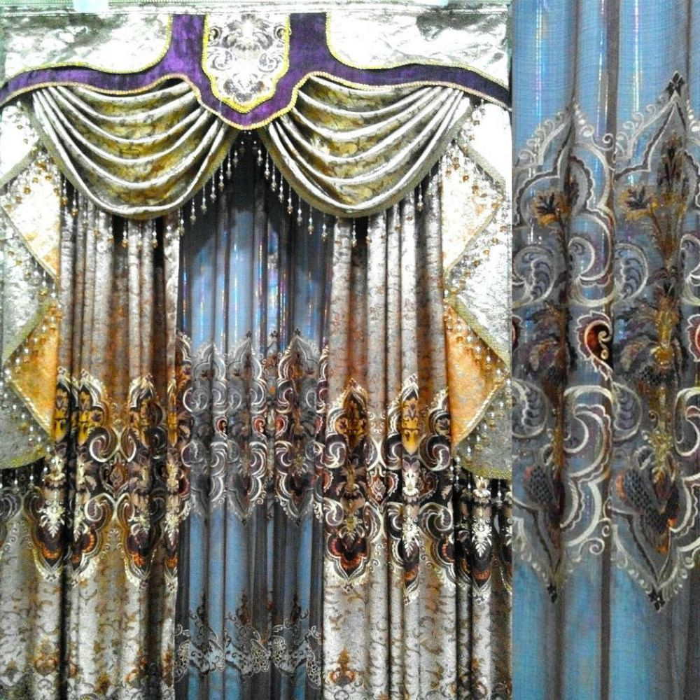 Black out curtains elegant valance curtains beaded valance curtains - Golden Foil Organza Curtain Extreme Luxury Blind Finished Curtain Cortina Tulle Wholesale Valance Cheap Crystal Curtains