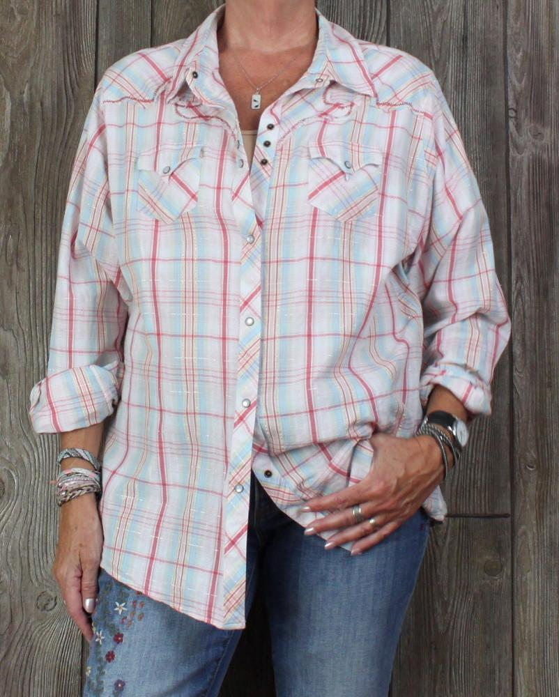 eb99288f59f Nice Ariat 1x size Western Blouse Pink Blue Plaid Embroidered Pearl Snap  Womens Plus
