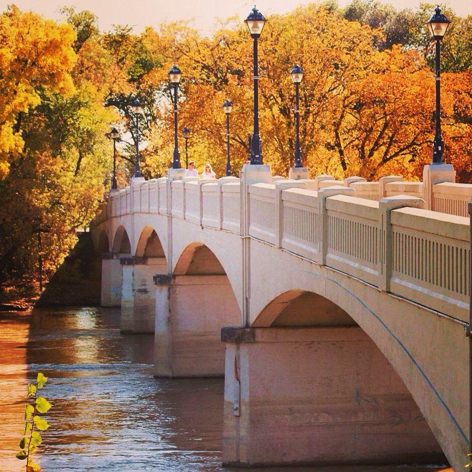 fall foliage at assiniboine park bridge winnipeg mb 2014