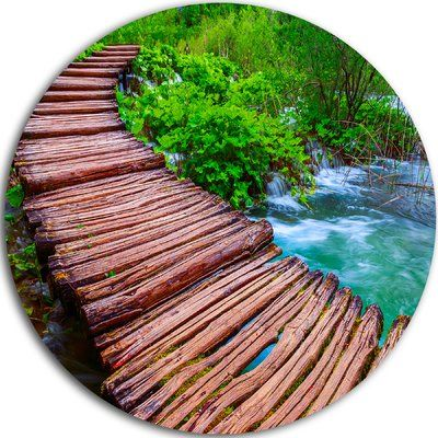 "DesignArt 'Wooden Bridge in National Park' Photographic Print on Metal Size: 38"" H x 38"" W x 1"" D"