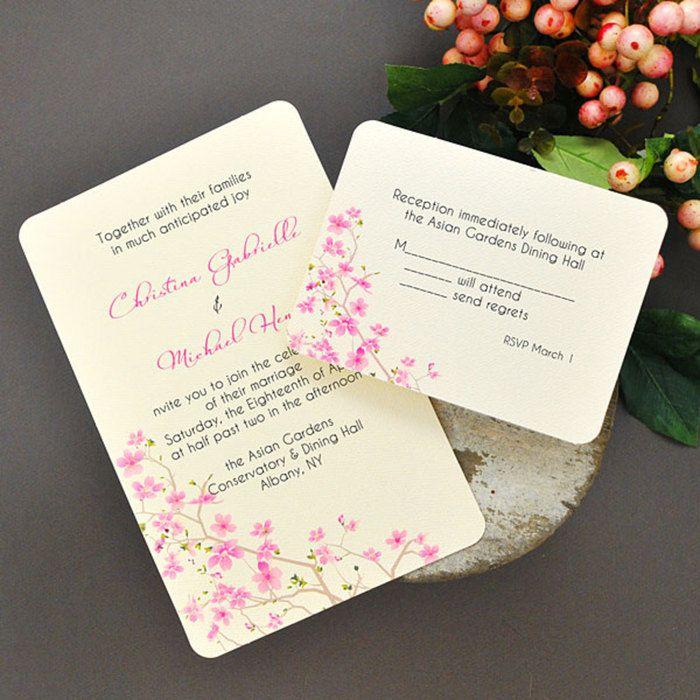 sample wording for rsvp wedding invitations%0A Cherry blossom invitation kit