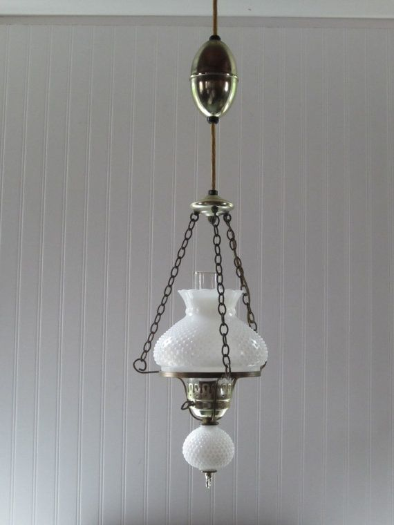 Vintage milk glass hanging hobnail light fixture hurricane hanging vintage milk glass hanging hobnail light fixture hurricane hanging lamp white milk glass ruffled lamp shade with retractable cord aloadofball Gallery