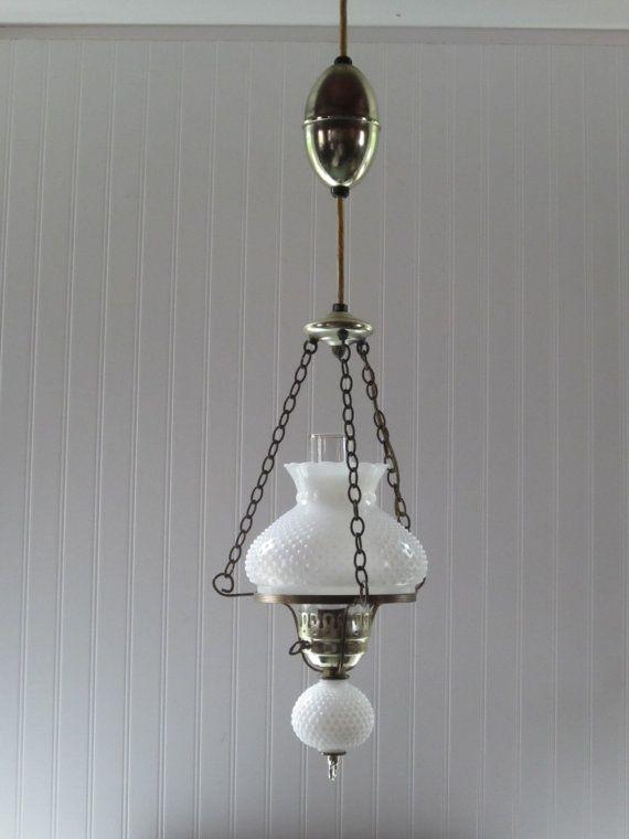 Vintage Hobnail Hanging Light Fixture Milk Glass Hurricane