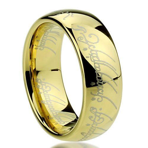 8mm Anium Comfort Fit Wedding Band Ring Laser Etched Lord Of The Rings Style Gold Plated