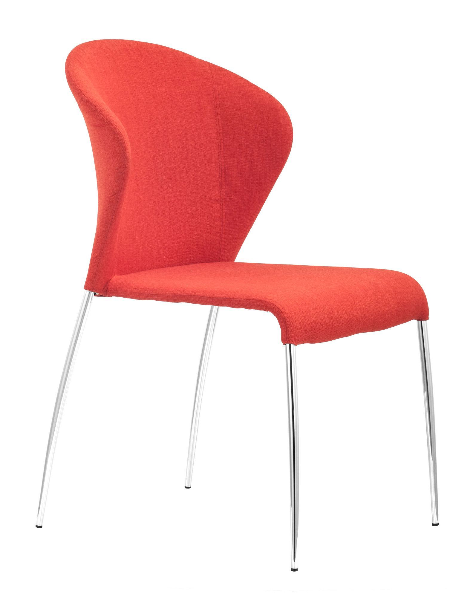 Zuo Modern Oulu Dining Chair With Chrome Legs Gray Red Orange