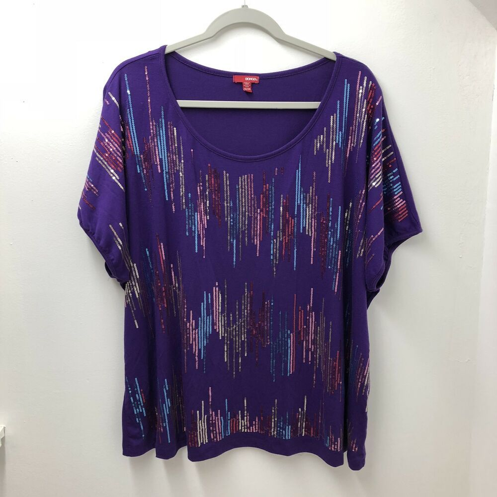 f8fd15ebca1 Bongo Purple Embellished Bling Tunic Top Plus Size 3X #fashion #clothing # shoes #accessories #womensclothing #tops (ebay link)