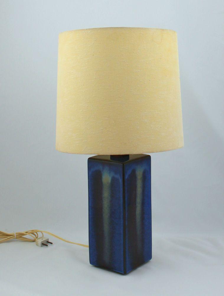 Tischlampe Keramik Fuss Blau 70er Lampe Vintage Schreibtischlampe Funktioniert In Schreibtischlampe Lampe Tischlampen
