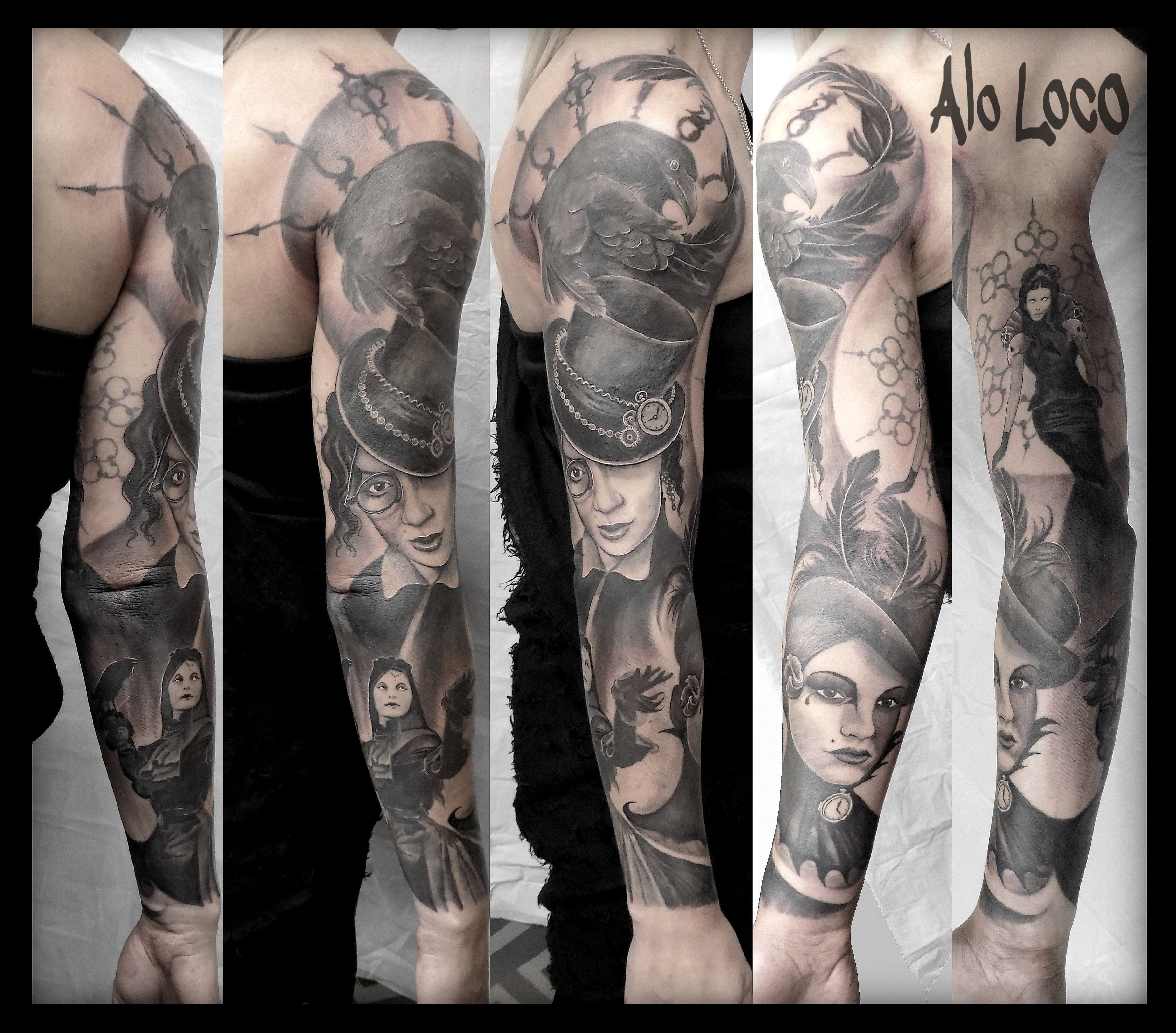 Black And Grey Tattoos In London Full Sleeves Portraits Realism And Surrealism By Alo Loco Uk Black And Grey Tattoos Sleeve Tattoos Grey Tattoo