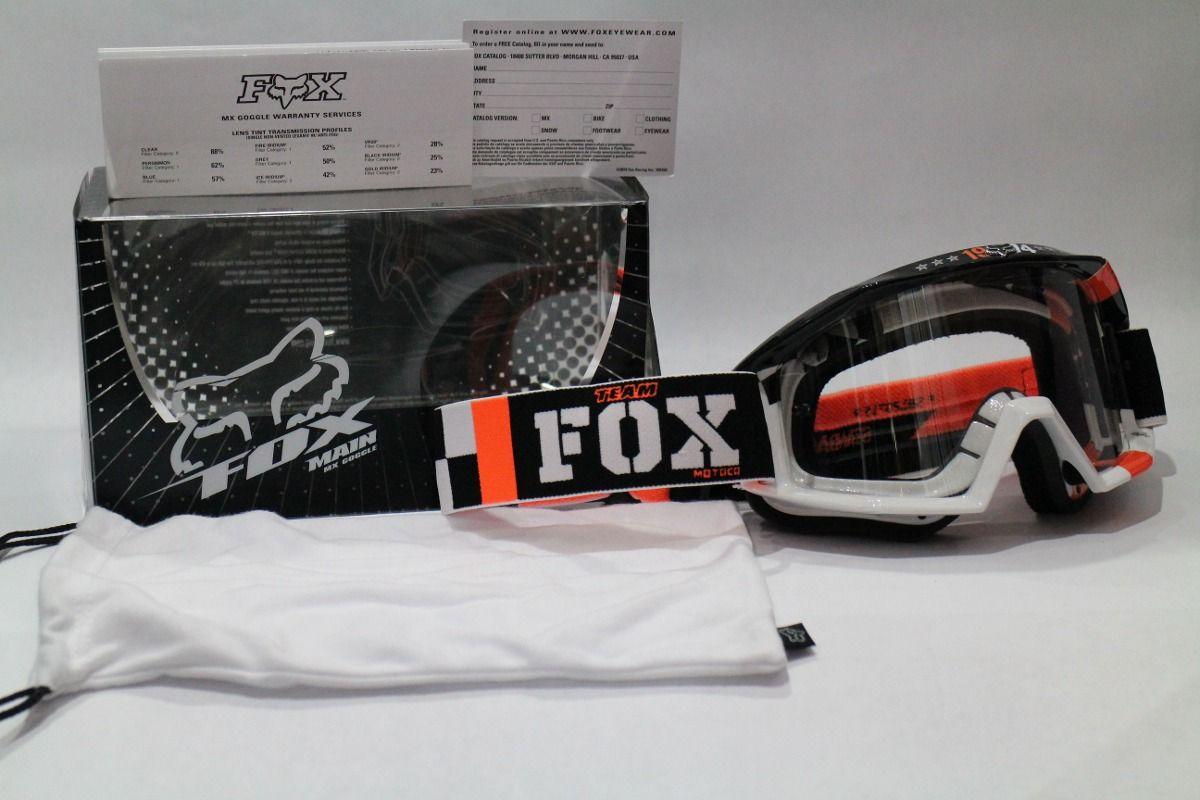 lentes mx fox para casco motocross negro blanco naranja ktm Cascos  Motocross f5bb4810621