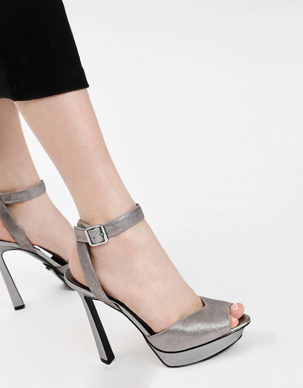 Silver Peep Toe Leather Heels Charles Keith Heels Leather