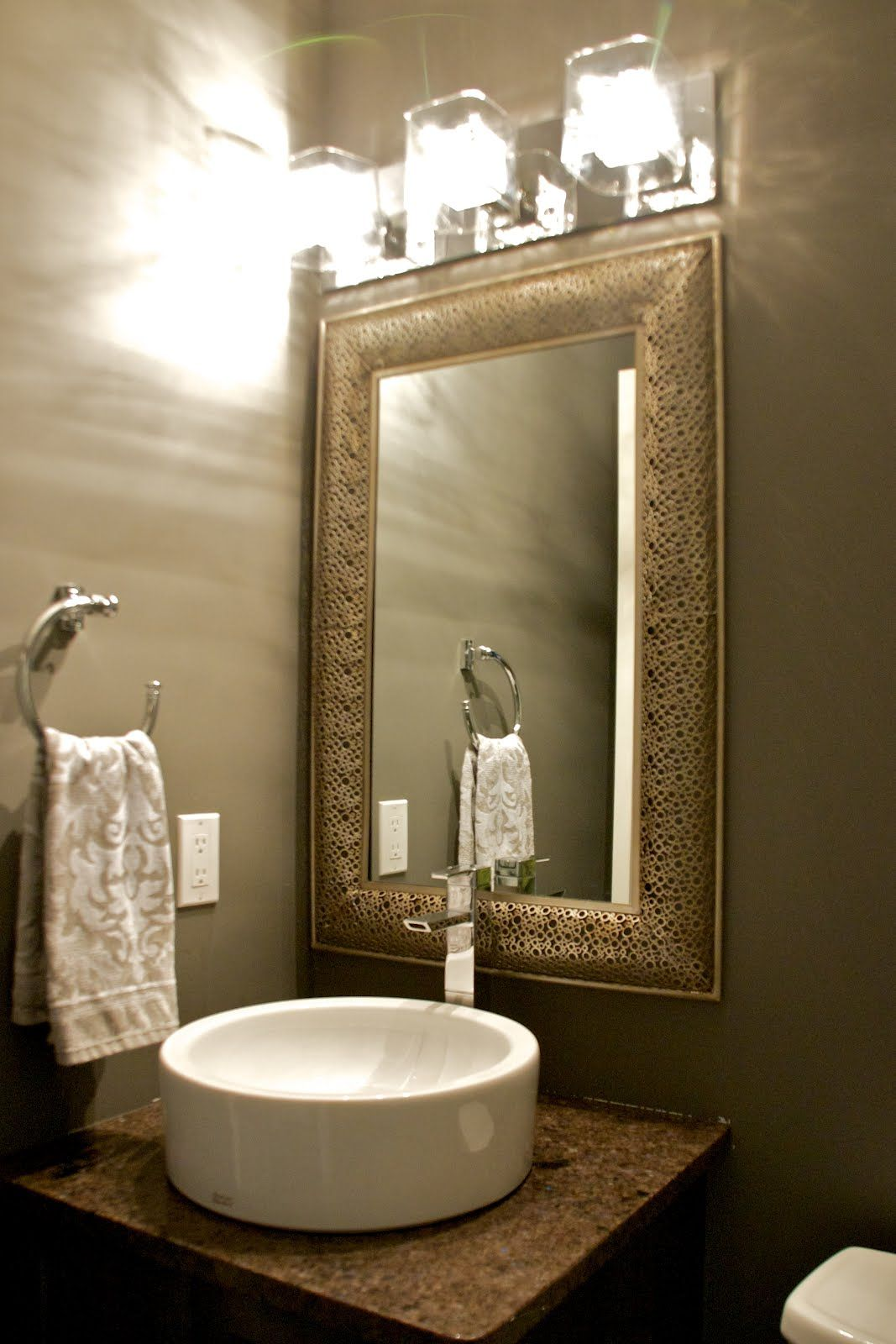 Powder rooms framed mirrors bathroom remodel pinterest for Glass mirrors for bathrooms