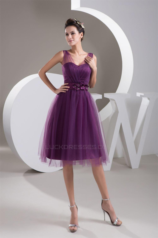 $99.99,Satin Fine Netting V-Neck Knee-Length Short Purple Bridesmaid ...