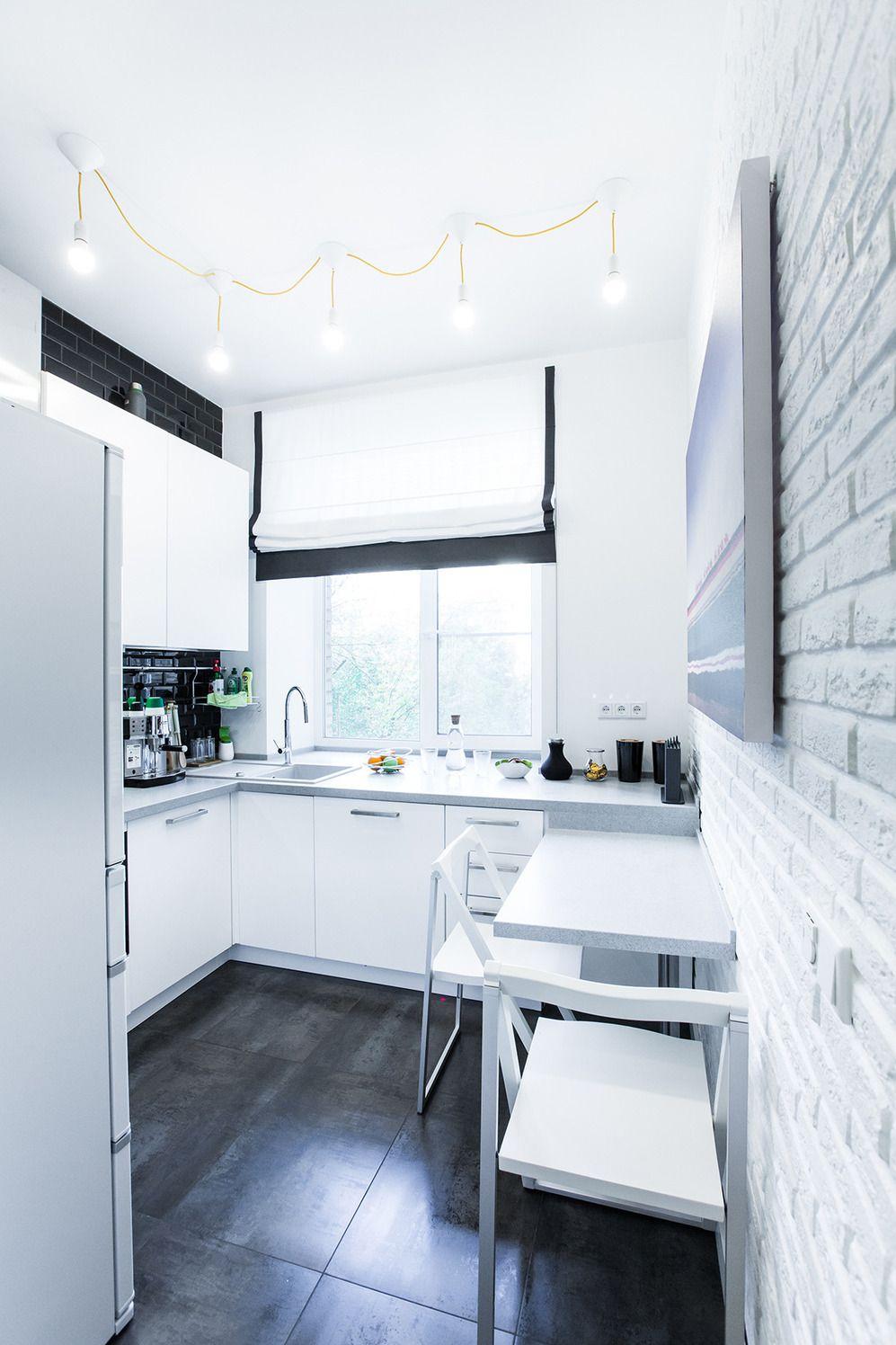 скандинавская миниатюра белая кухня на 7 квадратах Design