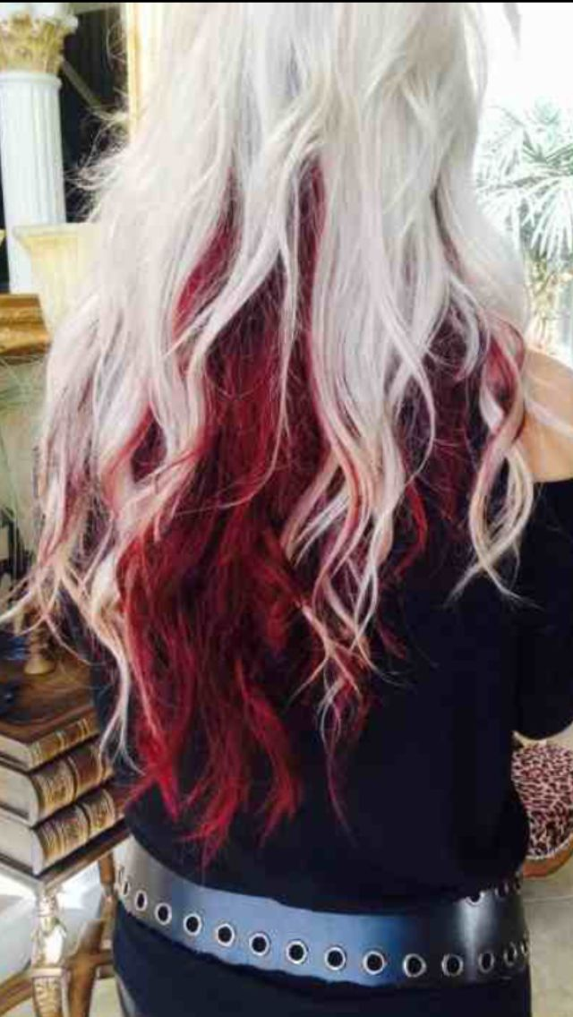 Platinum Top Light Maroon Bottom Hair Color Blonde Hair