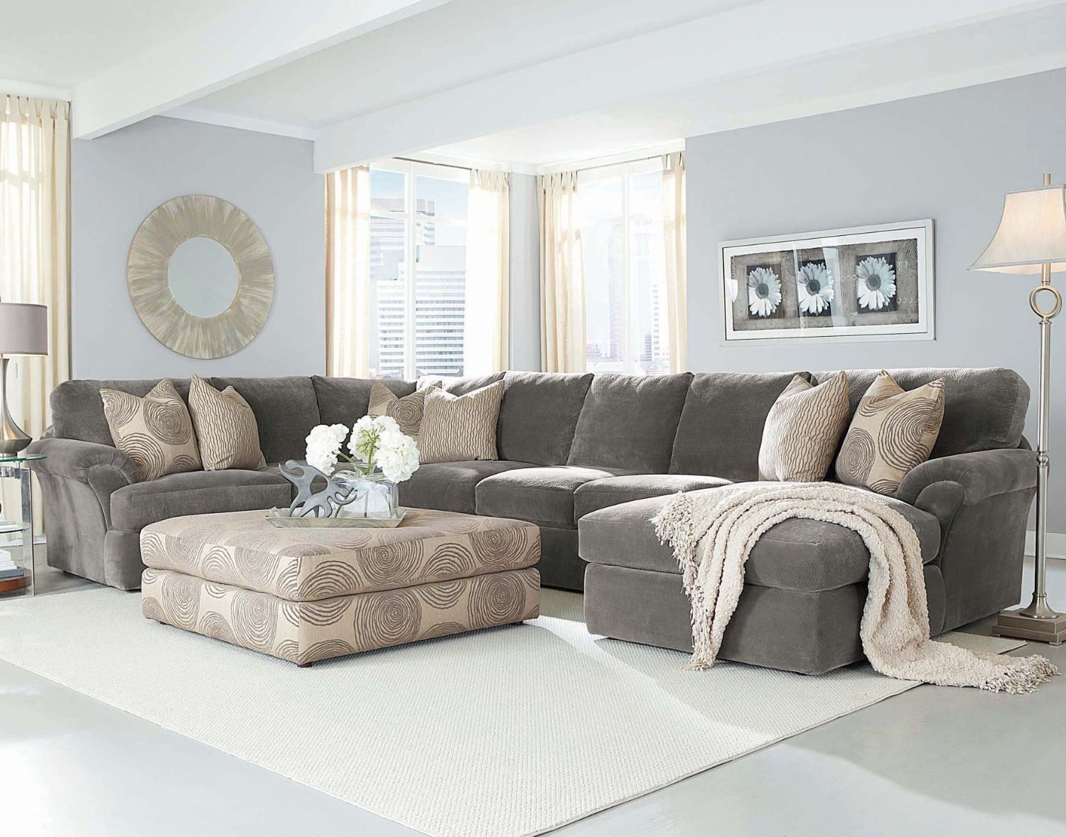 Chelsea Fabric Bradley Large Sectional In Light Home Grey Living