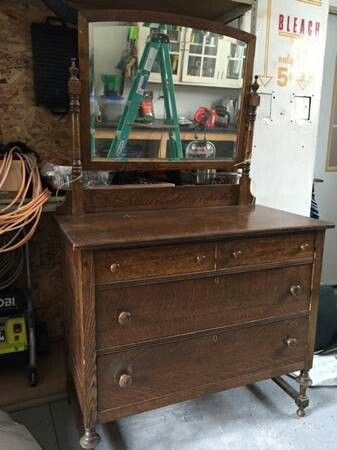 Dark Brown Oak Antique Dresser With Mirror Antique Dresser With