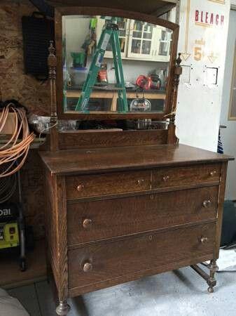 Dark Brown Oak Antique Dresser With Mirror