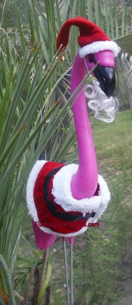 flamingo santa yard flamingospink flamingosyard ornamentspink christmastropical