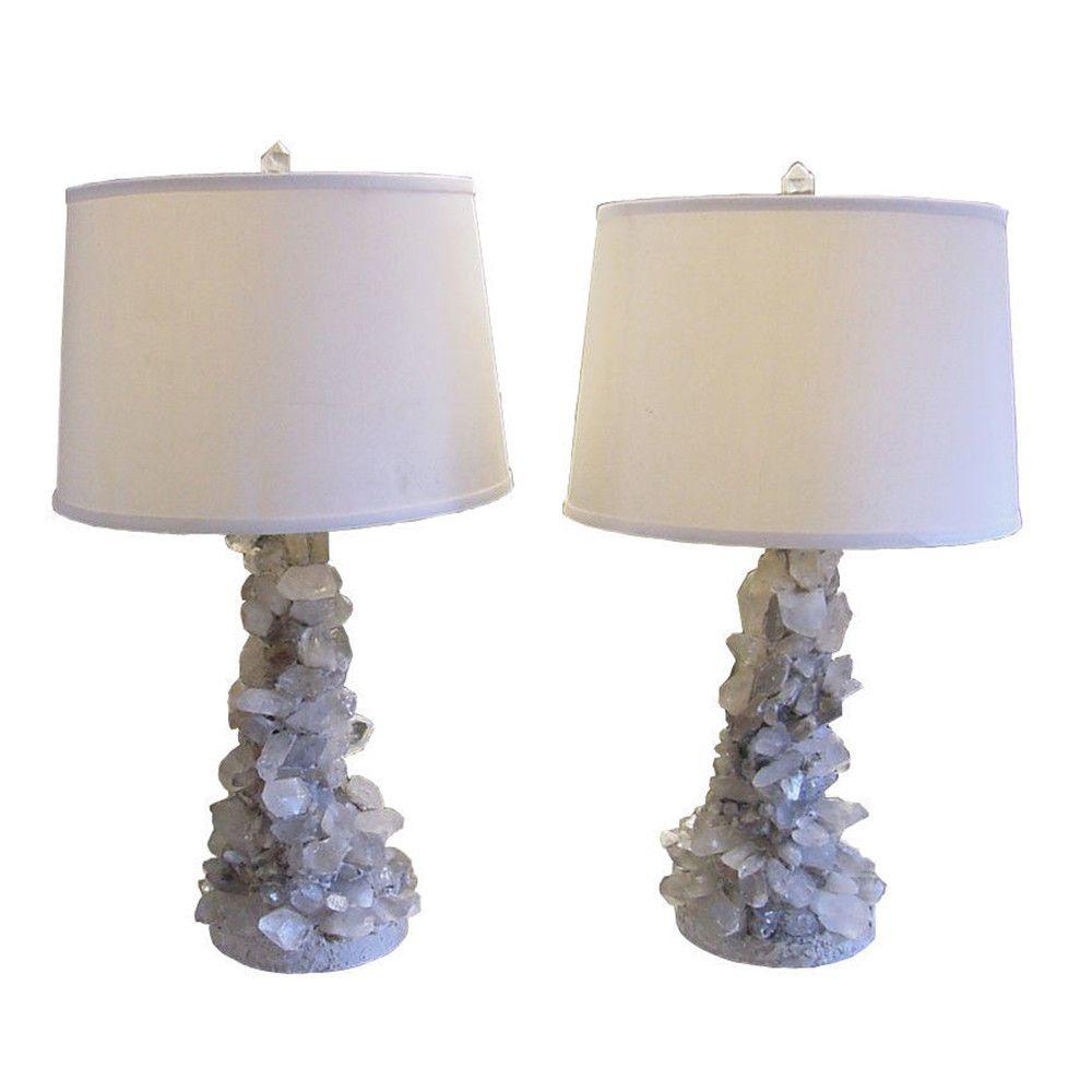 Brutalist Quartz Rock Crystal Lamps Pair Laurier Blanc