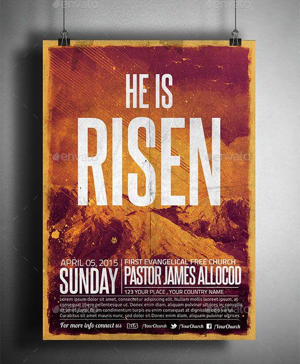 he is risen church flyerposter