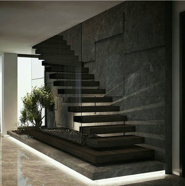 Love everything about this stairwell.  Use of materials, light, glass and the simplicity of it.  Feature wall brilliant.