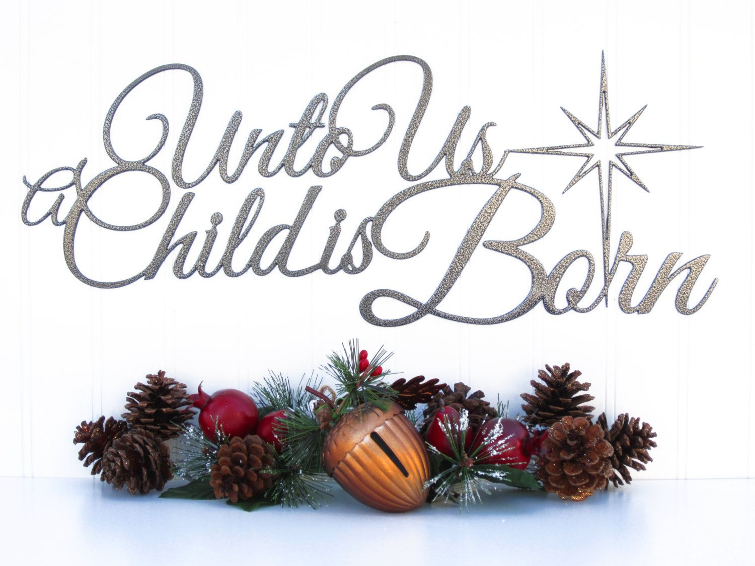 Unto Us A Child Is Born Christmas Metal Sign - Silver, 19.5x8 ...