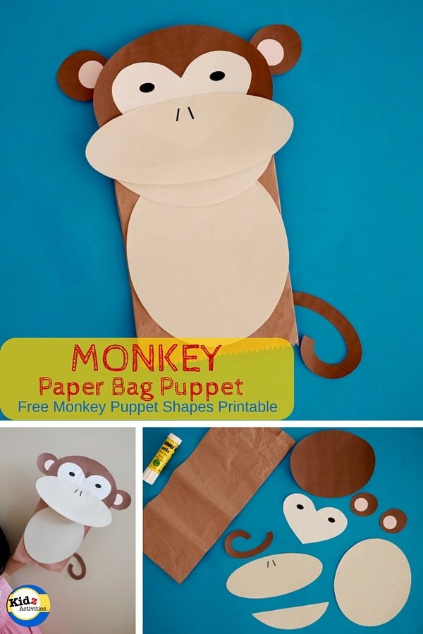 Monkey Paper Bag Puppet with Free Template - How to Make It | Easter ...