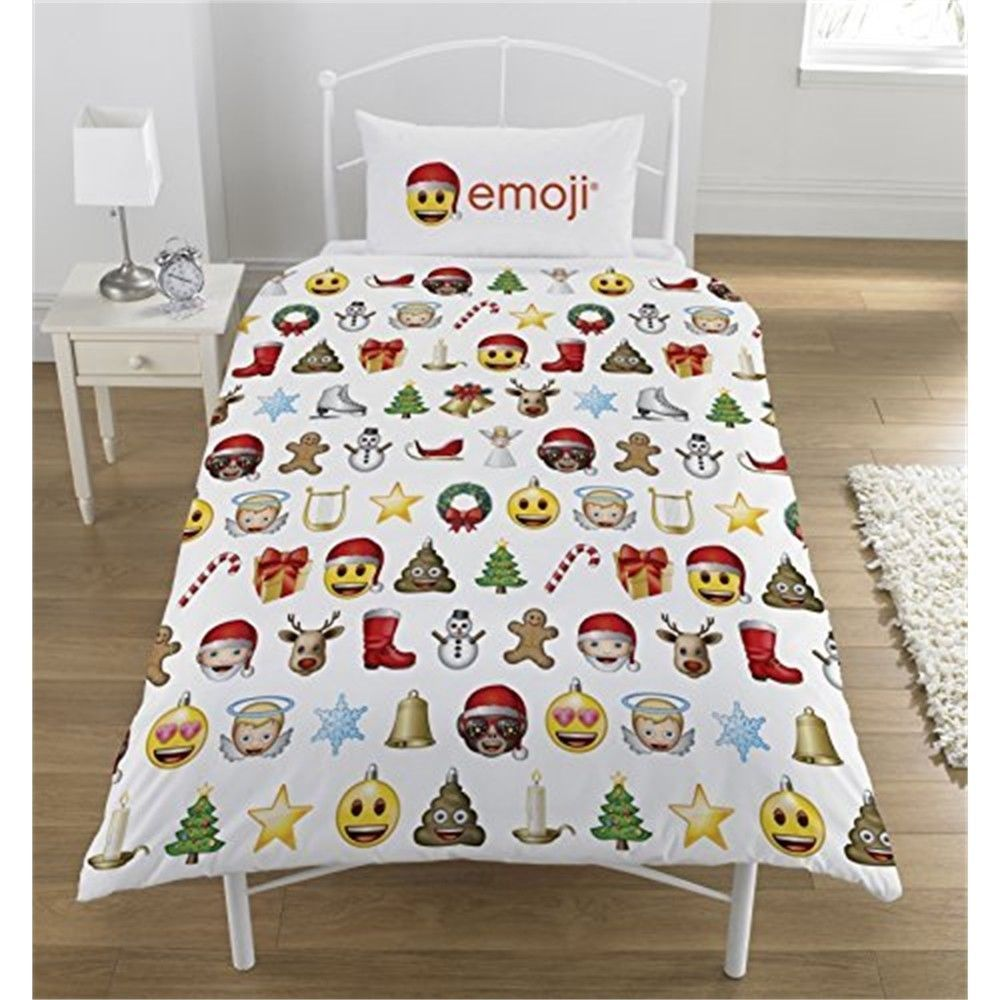 Emoji Christmas Duvet Set Polyester Cotton Multi Single Cover Bedding Set Bettwaren Geschenkideen Home Haus Emoji Bett Geschenkideen
