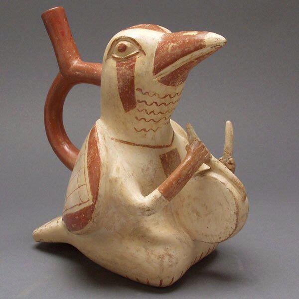 Moche anthropomorphic bird drummer
