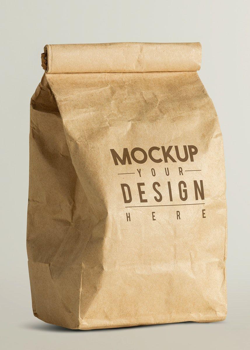 Download Download Premium Illustration Of Rolled Brown Paper Bag Mockup With Copy Brown Paper Bag Bag Mockup Paper Bag